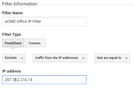 Google Analytics IP filter settings