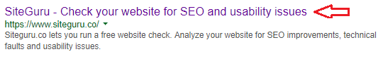 An example of a meta title in the search result