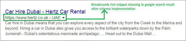 Breadcrumbs instead of the URL snown in the search result
