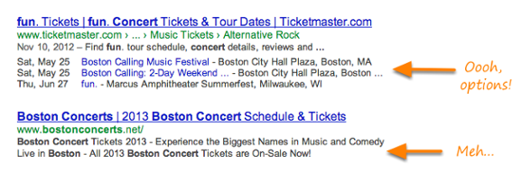 Event dates and ticket info in search results
