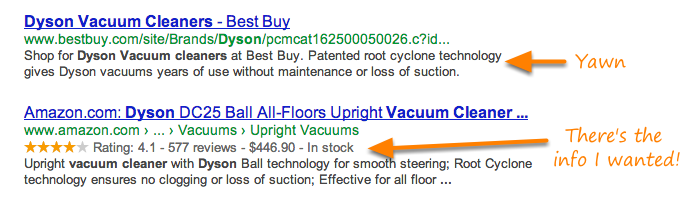 Search results get a higher CTR with structured data